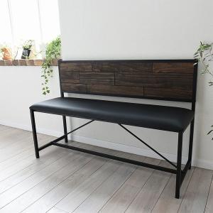 ベンチ 2人掛け 天然木 スチールフレーム GRANT 幅113cm ( チェア ダイニング オイル仕上げ イス アイアンフレーム ダイニング用 )|interior-palette