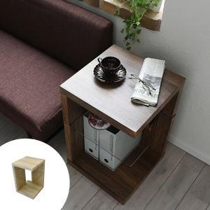 サイドテーブル ガラス棚 古材風 ヴィンテージ調 SAND 約幅40cm ( テーブル 机 おしゃれ リビング コンパクト 木製 ベッドサイド )|interior-palette