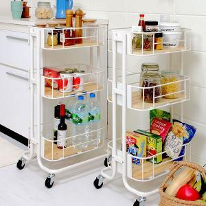 キッチンワゴン 3段 カゴ型 スチールフレーム 幅44.5cm ( キッチンラック キッチン 収納 ラック )|interior-palette|08