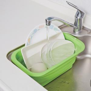 洗い桶 たためるシリコン 洗い桶 スリム グリーン 6L ( 洗いおけ たらい 食器洗い )
