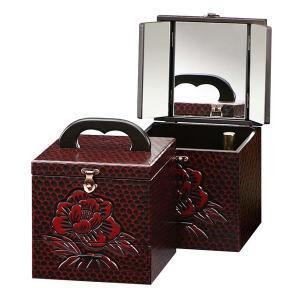 コスメボックス 鏡付き 三面鏡 メイクボックス 木製 手彫り 小町 ( 化粧品 収納 コンパクト )|interior-palette