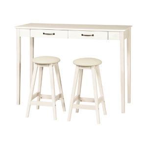 ハイテーブルセット スツール 2台 カントリー調 MIGNON 幅120cm ( クラシック調 ガーリー 白家具 カウンターテーブル セット イス 3点 収納 )|interior-palette