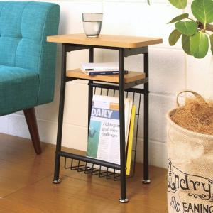 サイドテーブル スチールフレーム ケティル 幅40cm ( サイド マガジンラック サイドラック テーブル リビング 収納 棚 アイアン 木製 おしゃれ ラック )|interior-palette