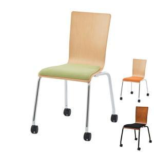 オフィスチェア プライウッドキャスターチェア パッド付 シンプル チェア イス オフィス用 ( オフィス スタッキング スタッキングチェア )|interior-palette