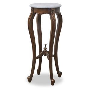 フラワースタンド サイドテーブル 大理石天板 ロココ調 マドモアゼル 幅40cm ( マホガニー 花立て フラワーラック 室内 猫脚 ロマンチック )|interior-palette