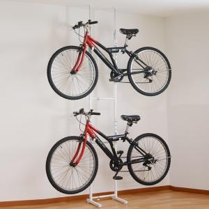 突っ張り 自転車ラック 2段 スチール製 幅31.5〜46.5cm ( 自転車収納 室内 サイクル スタンド 2台用 サイクルハンガー バイクタワー 壁掛け 突張り )|interior-palette