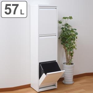 ゴミ箱 約 57L 3段 3分別 スチール製 幅34.5cm ( ごみ箱 57リットル 分別 三段 フロントオープン ふた付き コンテナ アジャスター付き キッチン ) interior-palette