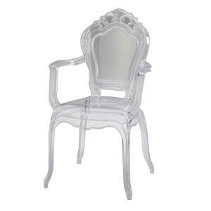 ダイニングチェア 肘付 スケルトン アンティーク調 コモ ( 完成品 椅子 イス いす チェア チェアー クリア 透明チェア ラウンジチェアー )|interior-palette
