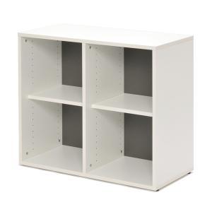 シェルフ 2列2段 格子型 プリーマ 幅80cm  ( ラック 棚 書庫 収納家具 ファイル棚 格子 )|interior-palette