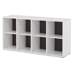 シェルフ 4列2段 格子型 プリーマ 約幅159cm  ( ラック 棚 書庫 収納家具 ファイル棚 格子 )|interior-palette