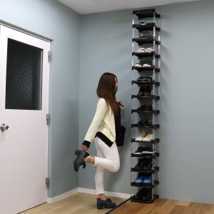 シューズラック 14段 省スペース 天井まで収納できるシューズラック 玄関収納 大容量 スリム ( 玄関 収納 下駄箱 )|interior-palette