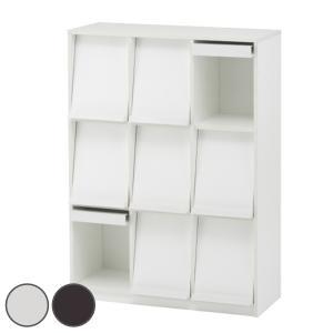 収納力豊富なフラップシェルフ3列3段タイプ。フラップ扉に本や雑誌をディスプレイ。どこから見ても美しい...