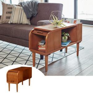 サイドテーブル 収納付 天然木 CALMA 幅28cm ( テーブル ソファサイドテーブル リビングテーブル )|interior-palette