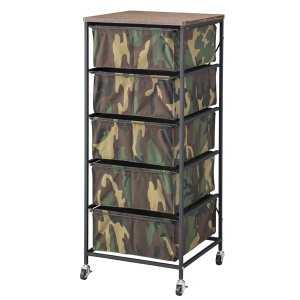 キャンバスチェスト 5段 木天板 キャスター付 迷彩柄 幅43cm ( 衣類収納 引き出し ボックスチェスト 収納チェスト )|interior-palette