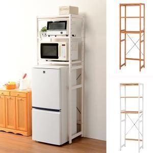 冷蔵庫ラック 木製 カントリー調 幅59cm ( キッチン収納 キッチンラック オープンラック ) interior-palette