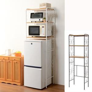 冷蔵庫ラック ロートアイアン 3段 幅58cm ( キッチン収納 キッチンラック オープンラック ) interior-palette
