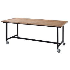 ダイニングテーブル 食卓 スチールフレーム キャスター付 幅180cm ( テーブル 食卓テーブル 机 木製 )|interior-palette