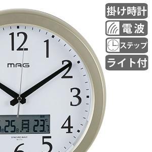 掛け時計 電波時計 ナイトグロー ライト付き ( アナログ 電波 時計 壁掛け時計 インテリア 雑貨 )|interior-palette