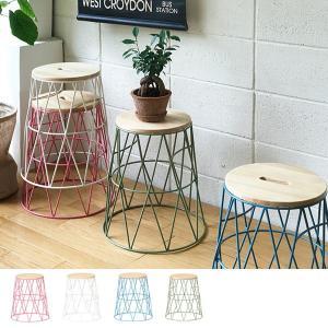 スタッキングスツール 丸型 座椅子 ワイヤーフレーム 座面高43.5cm ( イス いす チェア チェアー スツール )|interior-palette
