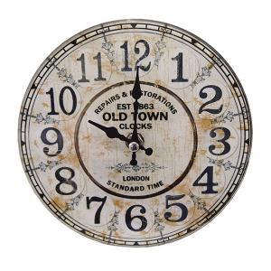 掛け時計 置き時計 卓上ガラス時計 ROUND 17cm Old Town オールドタウン ( アナログ 時計 壁掛け時計 インテリア 雑貨 )|interior-palette
