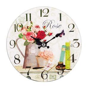 掛け時計 置き時計 卓上ガラス時計 ROUND 17cm Rose バラ2 ( アナログ 時計 壁掛け時計 インテリア 雑貨 )|interior-palette