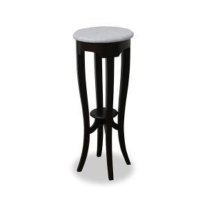 【週末限定クーポン】フラワースタンド 天然木 クラシック調 大理石天板 ルシール 直径32cm ( テーブル 机 サイドテーブル )|interior-palette