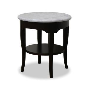 サイドテーブル 円型 天然木 クラシック調 大理石天板 ルシール 直径45cm ( テーブル ソファサイドテーブル リビングテーブル )|interior-palette