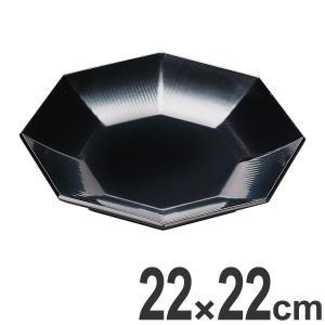 八角形の盛皿です。かんな目加工と漆調の黒塗を施した越前漆器です。前菜や種々の料理を盛るのに便利な中皿...