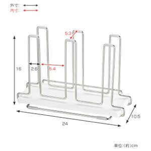 グラススタンド 6連 karari+wire 珪藻土トレー付き ステンレス製 ( 珪藻土 コップスタンド カラリ )|interior-palette|03