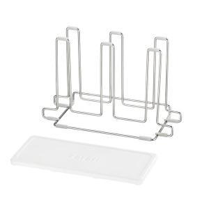 グラススタンド 6連 karari+wire 珪藻土トレー付き ステンレス製 ( 珪藻土 コップスタンド カラリ )|interior-palette|08
