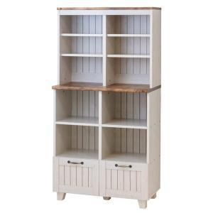 オープンキャビネット 引出し付 本棚 カントリー調 幅77cm ( キャビネット 収納棚 リビングボード )|interior-palette
