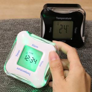 置き時計 ライト付き 多機能 温度計 日付 タイマー アラーム くるりんクロック&タイマー4 ( デジタル 時計 置時計 インテリア 雑貨 )|interior-palette