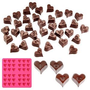チョコレート型 ハート アルファベット 数字 シリコン型 36個取 ( チョコ シリコン製 製菓道具 ハート型 グミ 型 )の画像