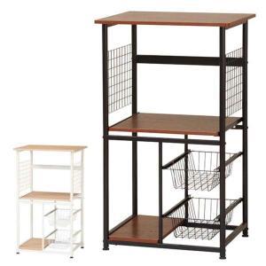 電子レンジ・炊飯ジャー・トースター・コーヒーメーカーなどが置けます。カゴと中棚は、スライド式です。さ...