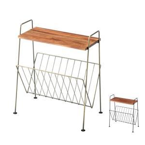 【週末限定クーポン】サイドテーブル アイアンフレーム マガジンラック付 約幅40cm ( テーブル 机 つくえ マガジンラック )|interior-palette