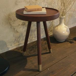 サイドテーブル 天然木 木製 丸型 幅40cm ( コーヒーテーブル 机 テーブル )|interior-palette