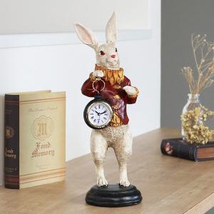 【週末限定クーポン】置き時計 ラビットクロック 赤い服 アンティーク ( 置時計 時計 インテリア ) interior-palette