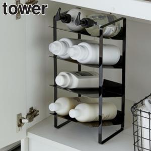 洗面下収納に使える、取り出しやすい4段ボトルストッカーです。シャンプーボトルや洗剤ボトル、スプレー缶...