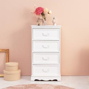 チェスト 4段 木製 カントリー調 シャビーウッド 幅50cm ( 姫系 白家具 ホワイト ) interior-palette 06