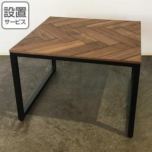 ローテーブル リビングテーブル 天然木 ヘリンボーン天板 BRIO 50cm角型 ( テーブル センターテーブル コーヒーテーブル ヘリンボーン )|interior-palette
