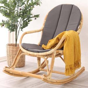 籐 ロッキングチェアー クッション付 椅子 ラタン製 籐家具 座面高40cm ( ラタン ロッキングチェア ラタンチェア 籐椅子 )|interior-palette