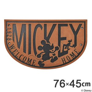 玄関マット ミッキーマウス ディズニー 45×76cm 屋外 屋内 洗える エントランスマット ブラウン ( 玄関 マット 泥落とし ドアマット )|interior-palette