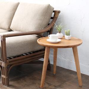 サイドテーブル 円形 チーク 天然木 アジアンテイスト 直径45cm ( ナイトテーブル ベッドサイドテーブル 花瓶台 )|interior-palette