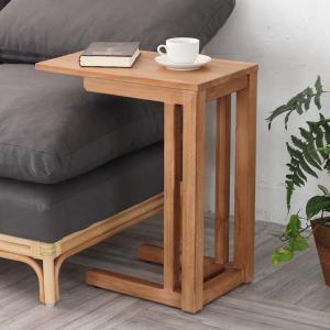 ソファサイドテーブル チーク 天然木 アジアンテイスト 幅50cm ( サイドテーブル 机 ソファ用サイドテーブル )|interior-palette