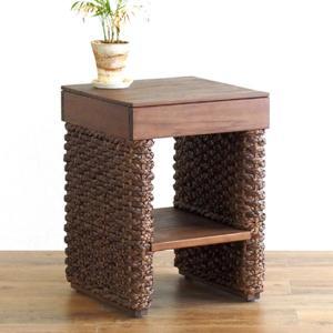 サイドテーブル 角型 アジアンテイスト ウォーターヒヤシンス 幅37cm ( ナイトテーブル コーヒーテーブル ウォーターヒヤシンス ラタン )|interior-palette