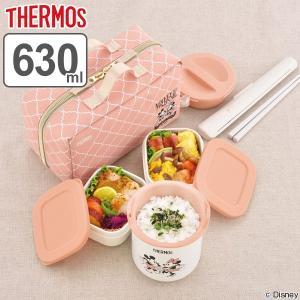 保温弁当箱 サーモス thermos ランチジャー ミッキー&ミニー 630ml ランチバッグ付き DBQ-254DS ( 保温 保冷 お弁当箱 ランチボックス )|interior-palette
