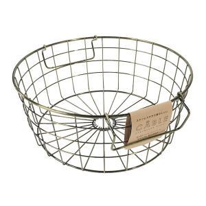 アンティーク調のカラーが、インテリアに馴染みやすいデザインのバスケットです。錆びにくいステンレスを使...