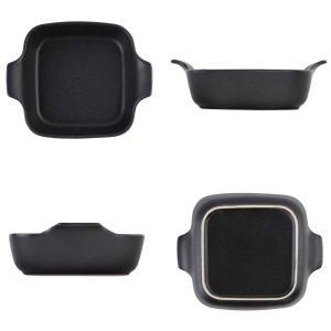 オーブンウェア 19cm 鋳物風 深型 正方形 角型 グラタン皿 陶磁器 取っ手付 同色4個セット ( 耐熱皿 一人用 四角 スキレット風 グラタン ラザニア )|interior-palette|03