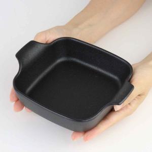 オーブンウェア 19cm 鋳物風 深型 正方形 角型 グラタン皿 陶磁器 取っ手付 同色4個セット ( 耐熱皿 一人用 四角 スキレット風 グラタン ラザニア )|interior-palette|05