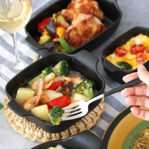 オーブンウェア 19cm 鋳物風 深型 正方形 角型 グラタン皿 陶磁器 取っ手付 同色4個セット ( 耐熱皿 一人用 四角 スキレット風 グラタン ラザニア )|interior-palette|06